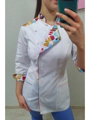 Bluza cukiernicza kucharska nr 93 biel+białe słodkości