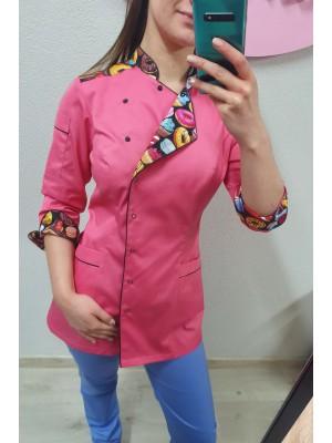 Bluza cukiernicza kucharska nr 93 róż + czarne słodkości