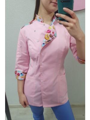 Bluza cukiernicza kucharska nr 93 pudrowy róż + pudrowe słodkości