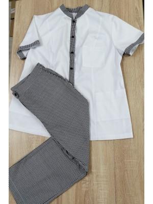 Komplet fartuszek + spodnie 3/4 biel + krateczka B75 roz 54
