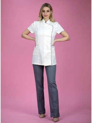 Komplet: fartuszek krem+grafit + spodnie grafitowe B92 roz 36