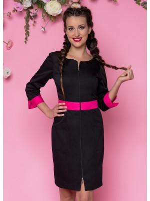 Sukienka nr 63 czarny+fuksja 90 cm